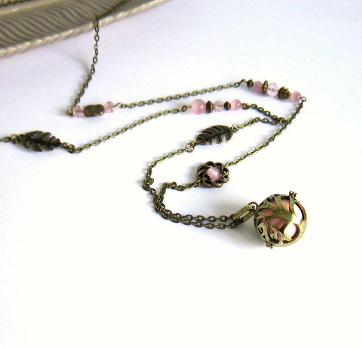 Bola de grossesse bronze bohème chic, arbre, rose, cadeau femme enceinte, feuilles, cristal, verre : Collier par color-life-bijoux