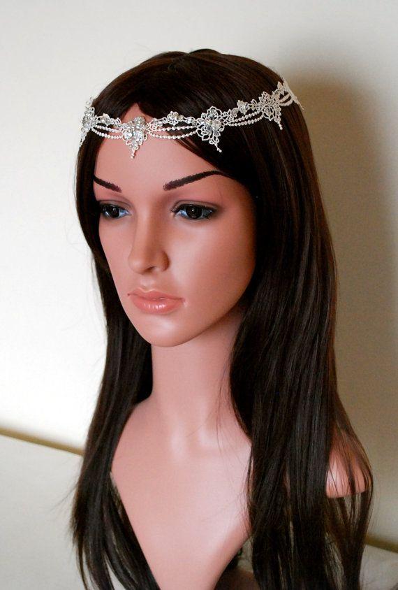 forehead headband lace circlet ivory by MagnificenceBridal on Etsy