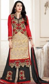 Karisma Kapoor Cream and Red Color Georgette Palazzo Suit #bollywooddressesaliexpress #bollywooddressonlineshopping Stylize yourself like Karisma Kapoor, with this cream and red color georgette palazzo suit. The ethnic lace, resham and stones work to your attire adds a sign of beauty statement for the look.  USD $ 73 (Around £ 50 & Euro 55)