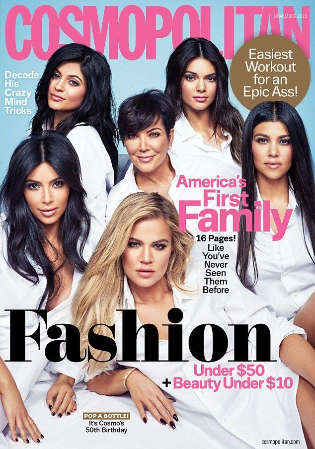 Kris Jenner, 59, Kim , Khloe and Kourtney Kardashian and their step-sisters Kendall and Kylie Jenner all smoulder in matching crisp white shirts on the front cover of Cosmopolitan 's November issue
