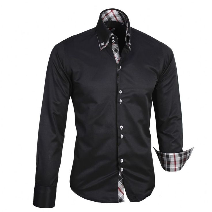 Shop online from our beautifully tailored Farrabi shirts. Button down – Chequered Collar Slim Fit Formal Double collar dress shirt black. Check out our online store for more!