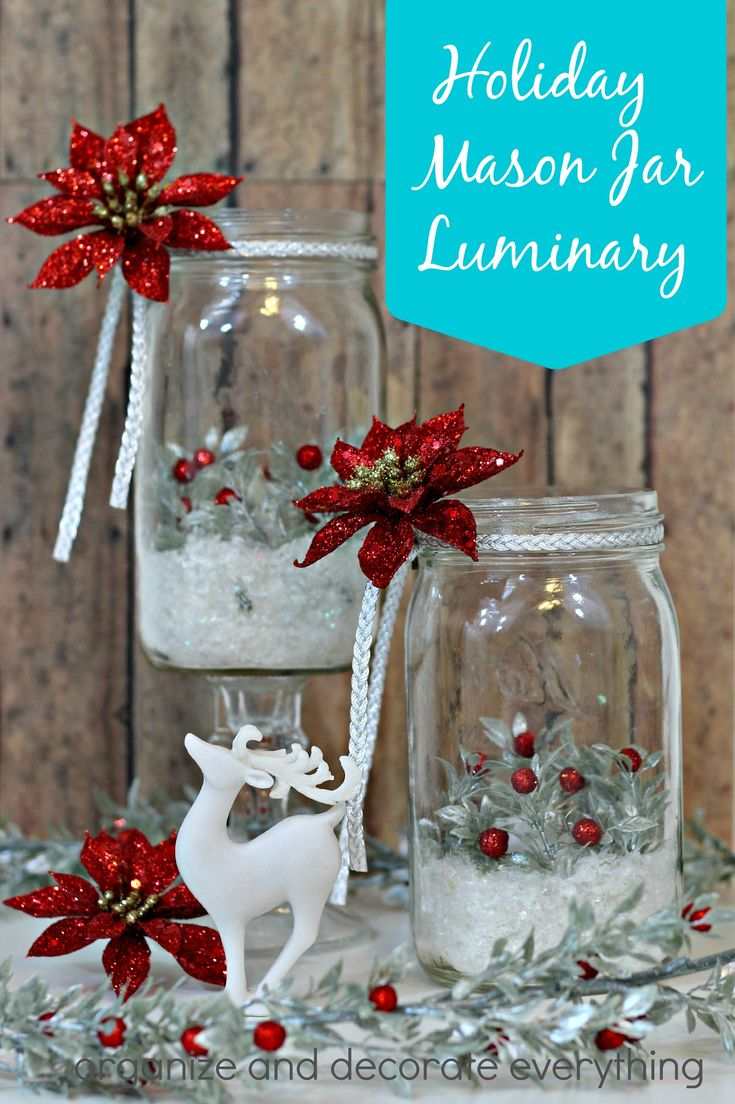 Holiday Mason Jar Luminary - Organize and Decorate Everything #MadeWithMichaels @michaelsstores