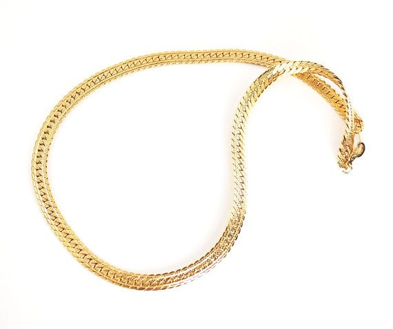 Vintage Mens Jewelry Mens Gold Chain Necklace by RedGarnetVintage