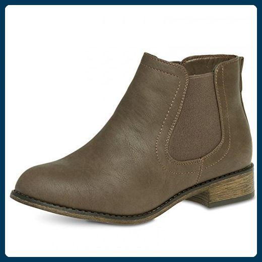 CASPAR SBO025 Damen klassische Chelsea Boots Stiefeletten, Farbe:taupe;Größe:EU38/UK5/US7 - Stiefel für frauen (*Partner-Link)