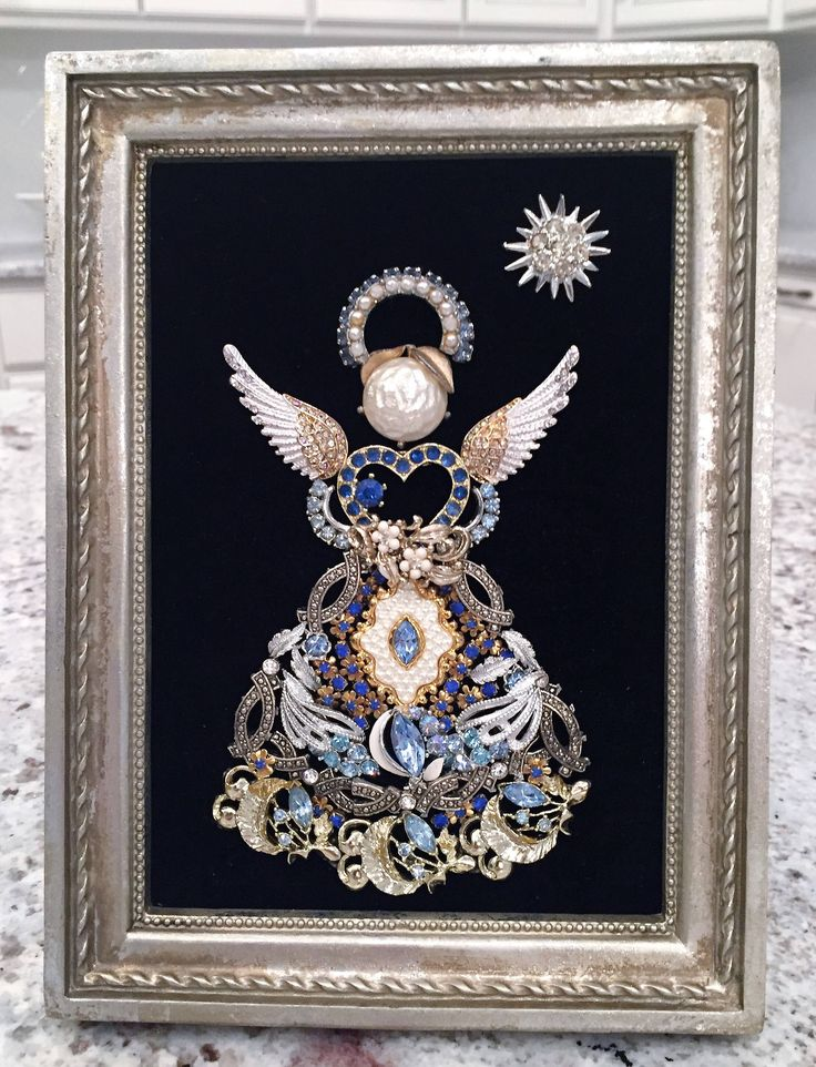 Costume/Vintage Jewelry Framed Art of an Angel by NotTooShabbyDesignCo on Etsy https://www.etsy.com/listing/563041577/costumevintage-jewelry-framed-art-of-an