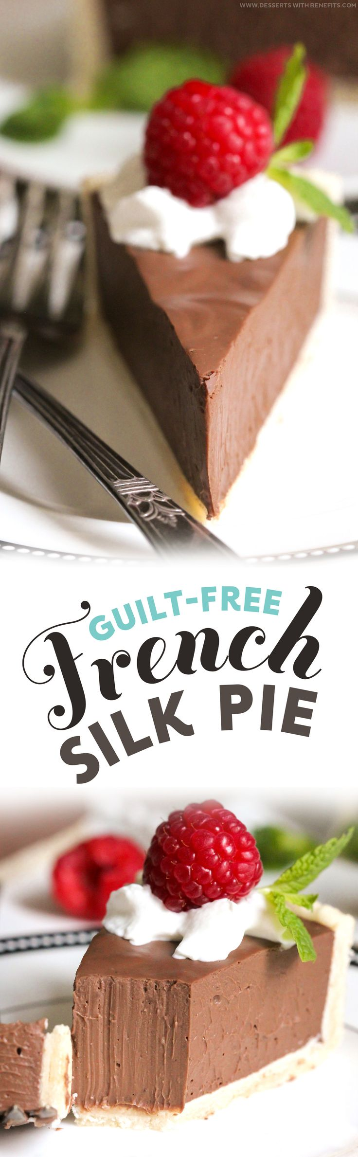 This Guilt-Free French Silk Pie is the ULTIMATE pie for the chocolate-lover in you — it's incredibly rich and creamy and sweet and chocolatey.  It'll satisfy your sweet tooth and chocolate craving in one fell swoop!  One bite and you'd never believe it's guilt-free.