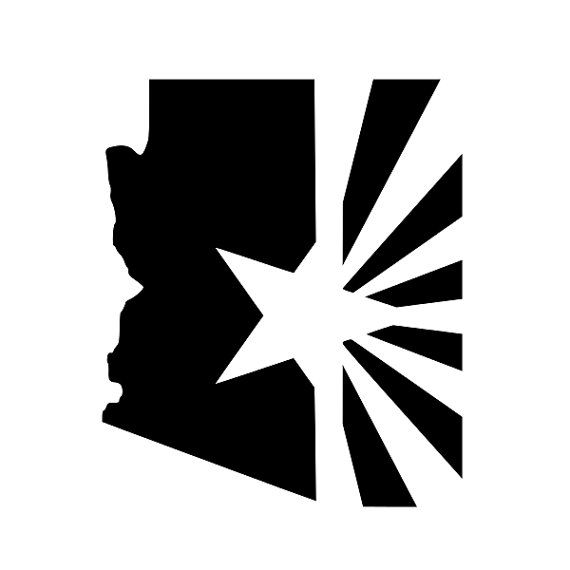 Arizona state with flag vinyl decal by northstardecals on etsy 4 00