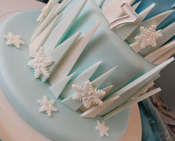 Icicles created for the side of my daughters Frozen cake