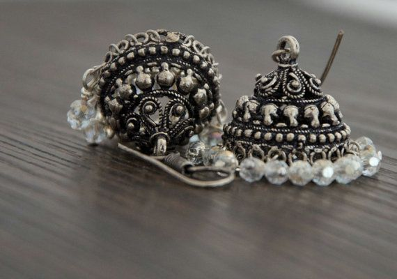 Earrings Jhumkas Silver oxidized with white stones by Ahkriti, $18.00