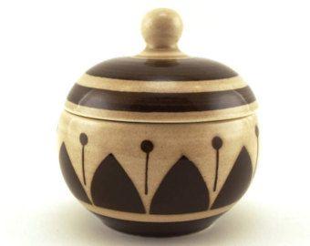Sugar pot, sugar bowl, trinket bowl, Boch, BOCH La Louvière Belguim. 1950's ceramic, geometric detail, chocolate brown Retro homeware.