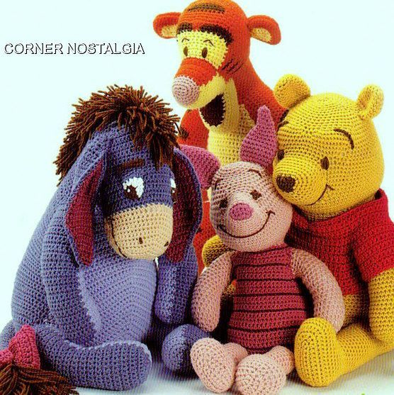 Vintage Crochet Pattern Winnie the Pooh Tigger Piglet and Eeyore Amigurumi Soft Toy  Finished toys are approx 18 ins tall  Worsted weight yarn   4.00 mm crochet hook Price is for the pattern only, not the finished product.  There is no shipping charge for this item, as it is a PDF file and will be sent almost direct of payment. If you dont receive it within 24 hours, please, contact me.  All patterns are written in standard American terms.  You can always contact me if you have any problems…