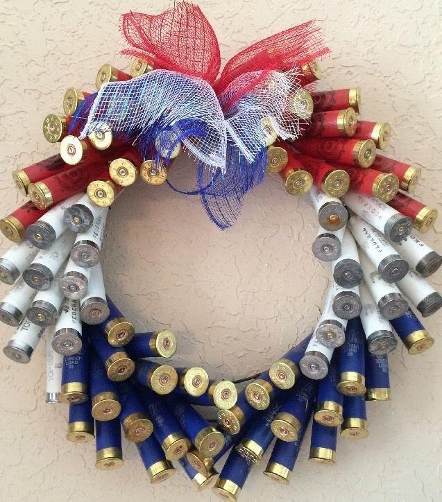 Shotgun Shell Wreath W/12 Gauge Patriotic Red, White, & Blue Shotgun Shells