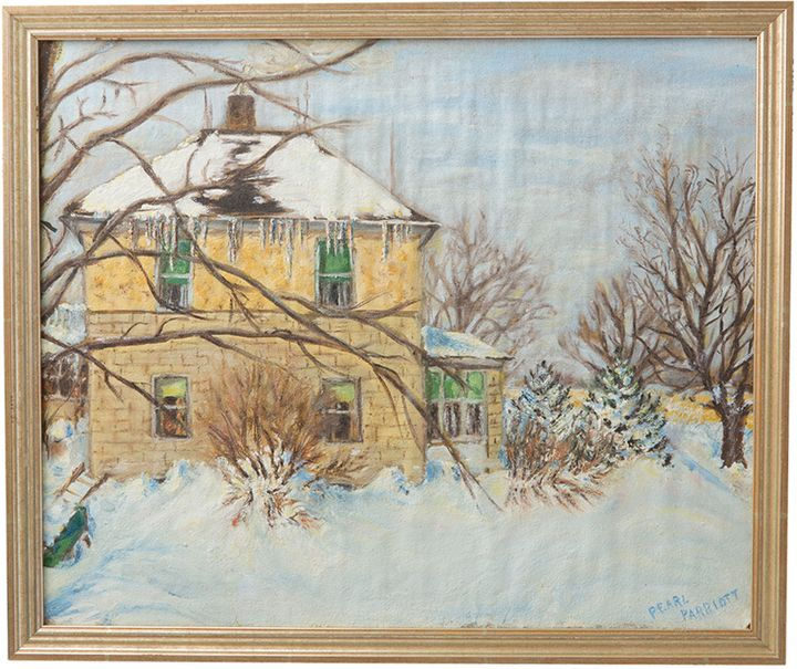 Original Oil Painting of Snow-Covered House