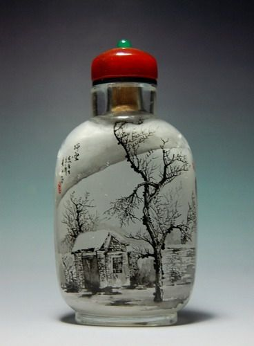 Japanese snuff bottle painted on the inside