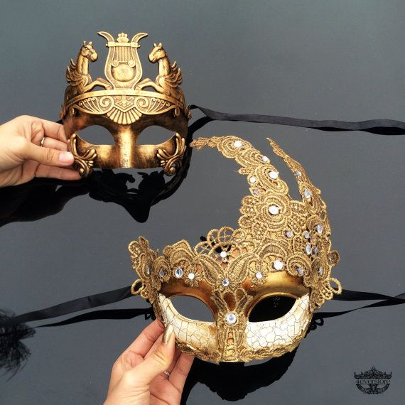 Couples Masquerade Mask, His & Hers Masquerade Mask, Roman Mask, Golden Bronze…