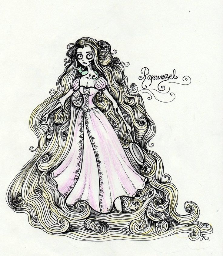Tim Burtonned Rapunzel by ~La-Chapeliere-Folle