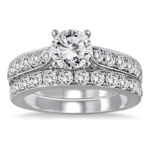 Simple Impress your love with this absolutely gorgeous Marquee Jewels diamond engagement ring and wedding band bridal set A center diamond is plemented by