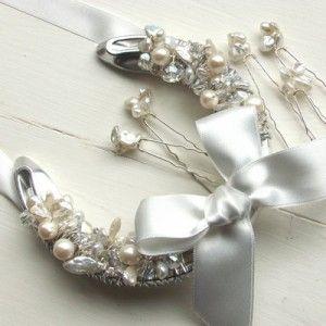 wedding horseshoe with ivory satin bow pearls & crystals