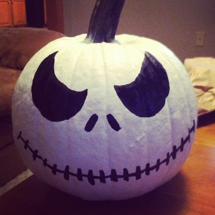 Jack skellington pumpkin. Spray paint a pumpkin white and find your favorite jack face to paint in black
