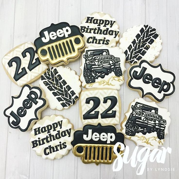 """Happy 22nd, Chris! He just finished restoring an old Jeep! #customcookies #decoratedcookies #fortworth #dfw"""