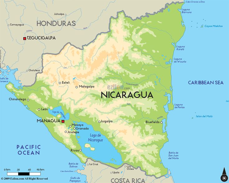 This a map of the country Nicaragua. The population is approximately 6.08 million people