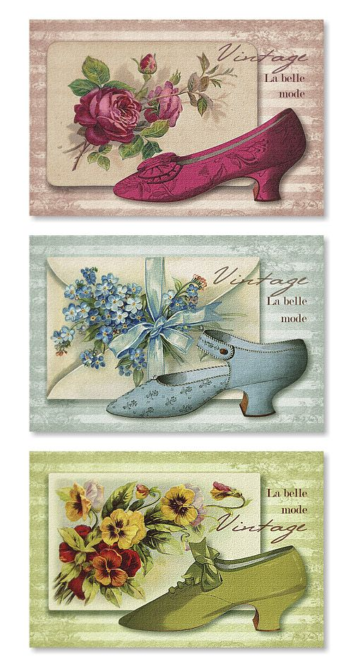 Antique shoes - printable card toppers.