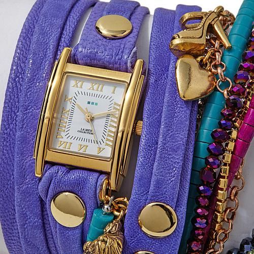 La Mer Copacabana 2-Tone Rectangular Case Charms and Chains Purple Leather Wrap Watch