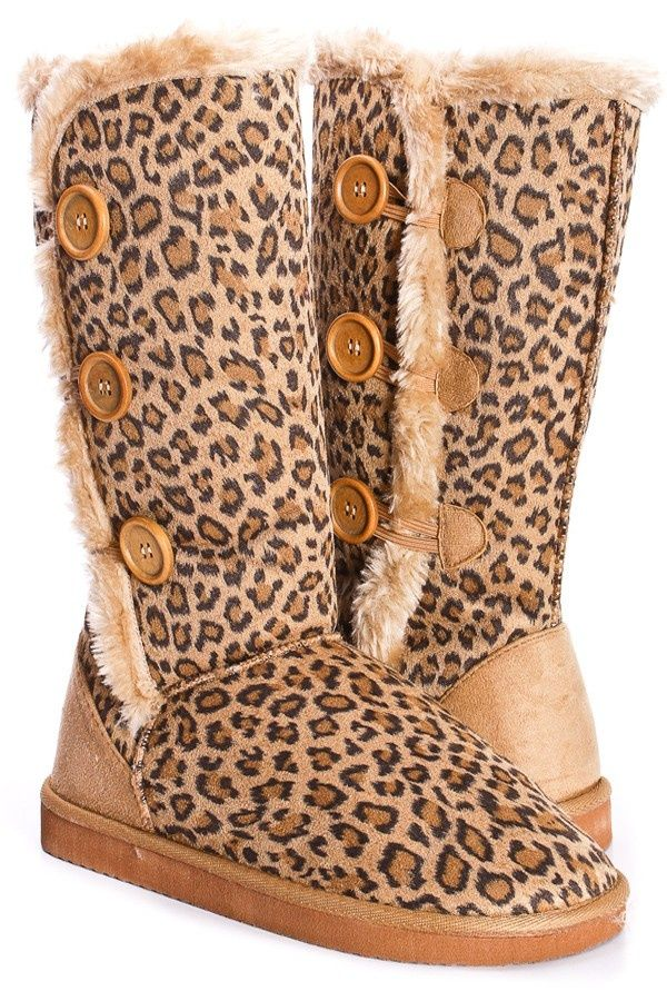 LEOPARD PRINT FAUX SHEARING BUTTON MID CALF BOOTS