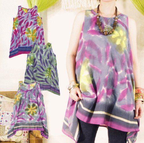 Amazon.co.jp: タイダイ柄 ロングタンクトップ (レディース) アジアンファッション エスニックファッション (ピンク): 服&ファッション小物