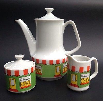 Adorable Cute Decole Japan Ceramic Tea Pot Creamer Sugar Bowl Bakery Bread | eBay