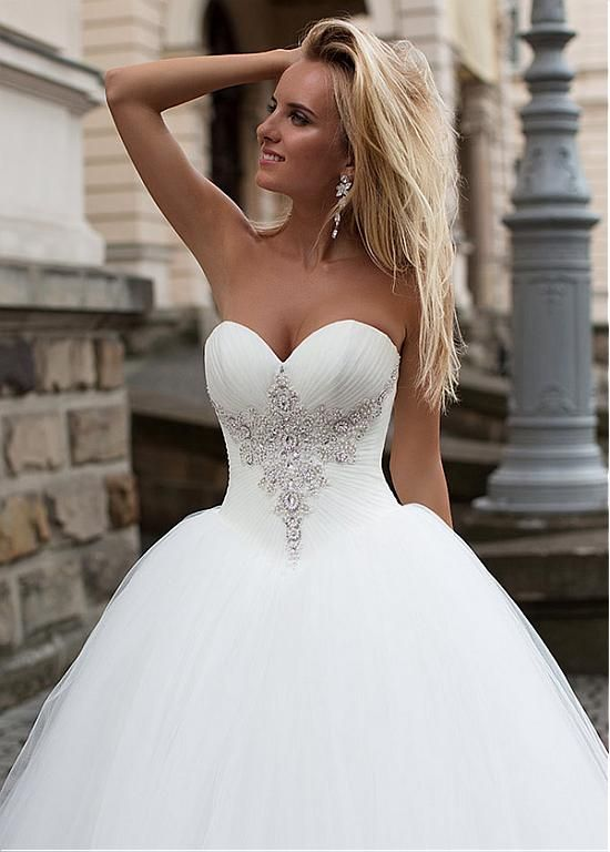 Magbridal Stunning Tulle Sweetheart Neckline Basque Waistline Ball Gown Wedding Dress With Beadings