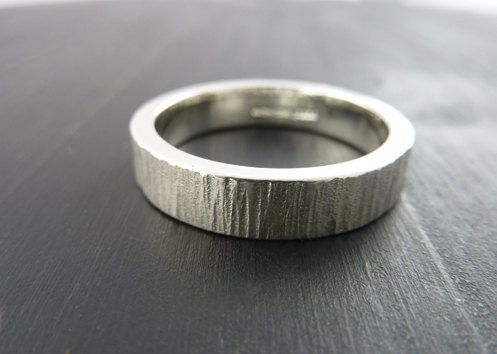 Mens Wedding Band Ring Wood Grain Sterling By Someplaceelsewhere