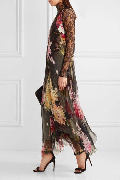 Lanvin - Floral-print Silk-chiffon And Crepe De Chine Gown - Black - FR42