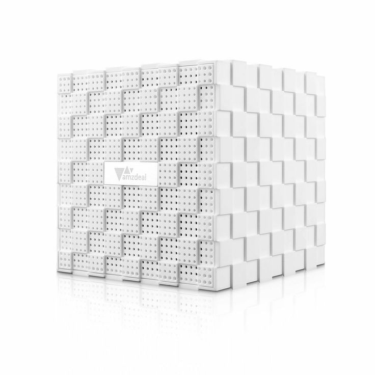 Amzdeal® Pixel Cube Rechargeable Portable Wireless Bluetooth Speaker-White,£18.99