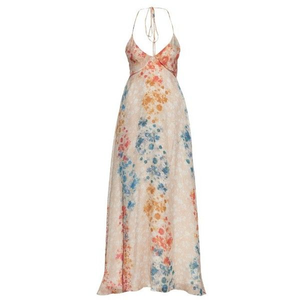 Athena Procopiou Stay Wild Moon Child silk dress ($351) ❤ liked on Polyvore featuring dresses, vestido longo, beige multi, pink empire waist dress, flower printed dress, empire waist dresses, floral day dress and flower print dress