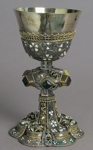 Chalice [Date: mid-15th century Culture: Central European Medium: Silver, gilded silver, glass, semi-precious stones(?), with cloisonné, champlevé and basse taille enamel Dimensions: Overall: 8 1/2 x 5 3/16 in. (21.6 x 13.1 cm) diam. of cup: 4 7/16 in. (11.2 cm) Classification: Metalwork-Silver]