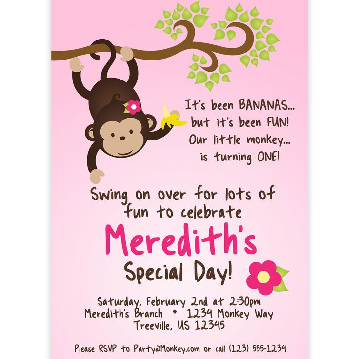 Mod Monkey Invitation - Pink Girl Mod Monkey Hanging from a Branch Personalized Birthday Party Invite - a Digital Printable File by PurpleBerryInk on Etsy https://www.etsy.com/listing/100677878/mod-monkey-invitation-pink-girl-mod