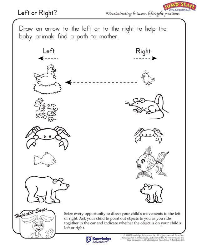 Left Or Right Free Critical Thinking Worksheet For Kindergarten Kindergarten Worksheets Preschool Worksheets Free Kindergarten Worksheets