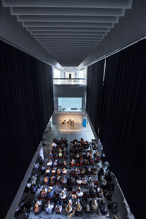 "A spectacular interior of our temporary quarter during a conference ""Oskar Hansen. Opening Modernism""."