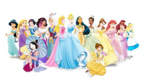 Females from Disney movies, including the princesses, Mulan, Megara (Hercules), Kida (Atlantis), Jane (Tarzan), Alice, Pocahontas, and Esmeralda (Hunchback of Notre Dame).