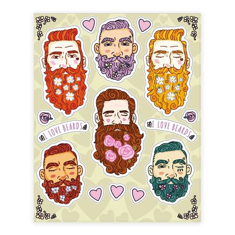 Boys With Beards Sheet - Who doesn't love a boy with a long, bushy, scruffy beard? Celebrate no shave November and your love for trendy facial hair with this adorable and colorful set of bearded boy stickers! These stickers illustrate different styles of beards adorned with pretty and decorative flowers.