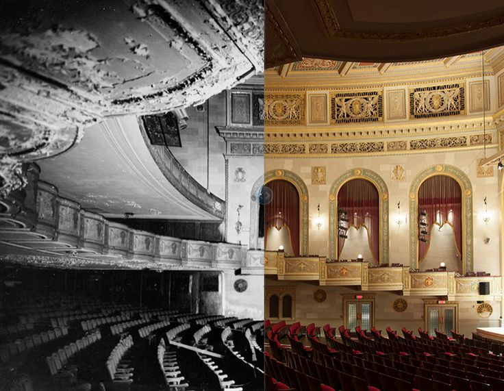 Orchestra Hall Main Floor and Balcony, 1970 and 2013. In the 20 years that it had sat vacant, the interior of Orchestra Hall had deteriorated badly, as snow fell through holes in the roof and pigeons nested above the balcony.