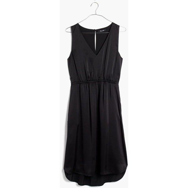 MADEWELL Nightout Dress ($138) ❤ liked on Polyvore featuring dresses, true black, going out dresses, madewell, shiny dress, lbd dress and night out dresses