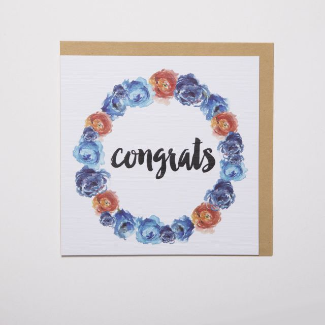 'Congrats' gift card. Thick, matte and textured card Embossed text and floral wreathe Handpainted, watercolour florals  #giftwrap #wrappingpaper #craft #paper #watercolour #florals #card #giftcards #quotes #inspiration #celebrate #birthday