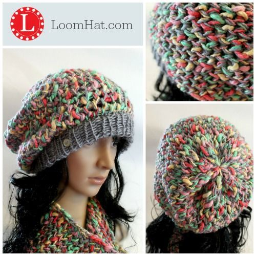 Loom Knit Slub Yarn Slouchy Beanie Hat and Cowl Pattern with Video Tutorial