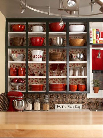 We love this open cabinet look!  #kitchen #storage #decorating: Kitchens Spaces, Open Shelves, Kitchens Colors, Dark Kitchens Cabinets, Open Cabinets, Red Kitchens, Kitchens Storage, Cabinets Doors, Retro Kitchens