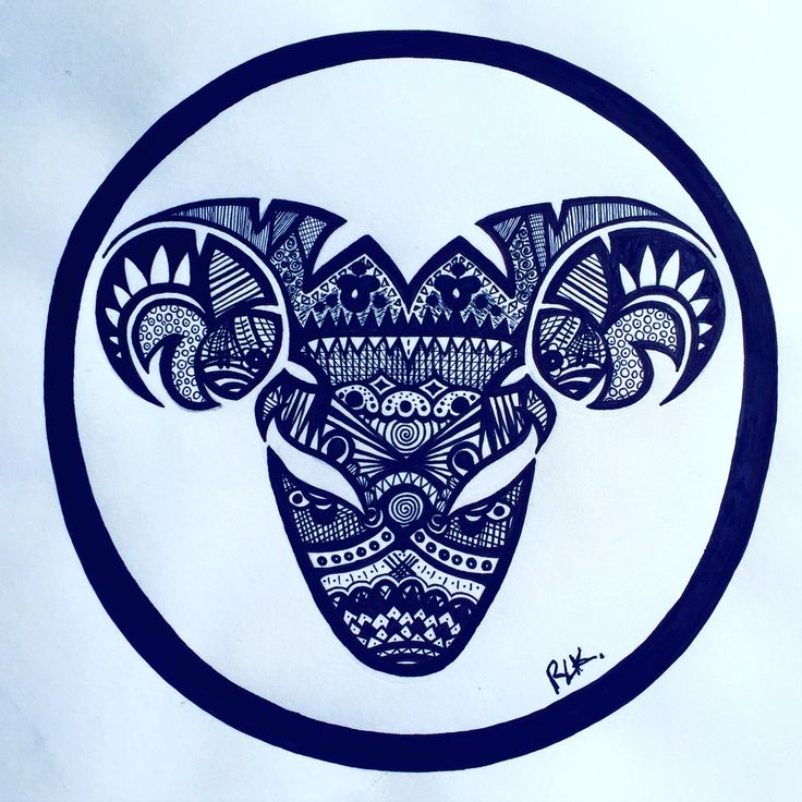 Zentangle Zodiac art - Aries,  (Made with black MICRON Pens different sizes). #PLKdesign