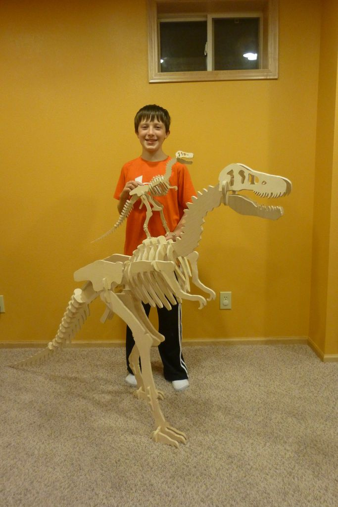 """T-Rex Dinosaur Puzzle with different sizes and positions - amazingly thorough instructions and pdf files for either 16"""" or 48"""" dinosaur"""