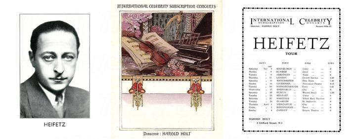 Jascha Heifetz 1937 UK tour.  Jascha Heifetz was born on 2nd Feb 1901 in Vilnius, Lithuania and died on 10th Dec 1987 in Cedars-Sinai Medical Center, Los Angeles, California, USA.