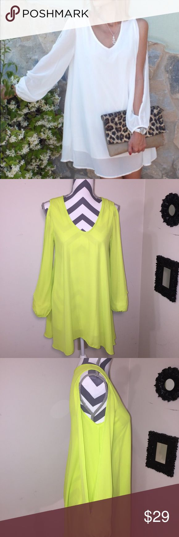 💚Not this color💚Neon Yellow Dress Pre loved gently used totally adorable Sheer neon split sleeve dress. Dresses Midi
